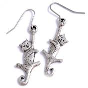 St Justin, Pewter Dangling Cat Drop Earrings