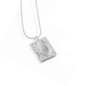 TR.OD Silver Square Book Design Photo Picture Locket Pendant Necklace Long Chain