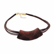 NECKLACE, TUBE, FLAT CURVED, BROWN, 50CM