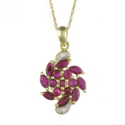 Ivy Gems 9ct Yellow Gold Ruby and Diamond Pendant with Prince of Wales with Chain of 46cm