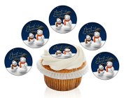 12 Large Pre Cut Merry Christmas Father and Son Snowmen Edible Premium Disc Wafer Cupcake Decorations Toppers - by Kreative Cakes