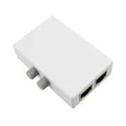 Grey Push Button RJ45 2 Ports Network Switch Plastic Hub White for PC