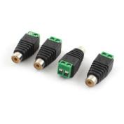 4 Pcs RCA Female Plug to Audio Video Screw Terminal Connector CCTV