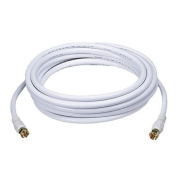 4.6m RG6 (18AWG) 75Ohm, Quad Shield, CL2 Coaxial Cable with F Type Connector - White