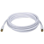 3m RG6 (18AWG) 75Ohm, Quad Shield, CL2 Coaxial Cable with F Type Connector - White