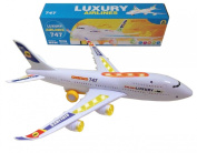 ToyZe® Bump and Go Action, Boeing 747 Aeroplane Toy, with Lights and Real Sounds