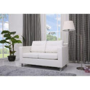 Gold Sparrow Detroit Leather Loveseat in White