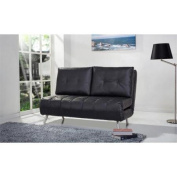 Gold Sparrow Tampa Leather Convertible Sofa in Black