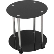 AVF 2-Tier Wheeled and Occasional Table, Black Glass and Chrome, T62-A