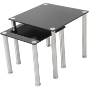 AVF 2 Nesting Tables, Black Glass and Chrome, T32-A