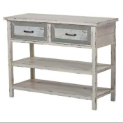 2-Drawers Accent Table in Antique Cream Finish