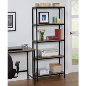 Target Marketing Systems Piazza Collection Mid Century Modern 5 Level Living Room Bookcase, Black/Wood