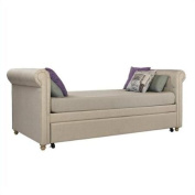 Ameriwood Sophia Upholstered Twin Daybed with Trundle in Tan
