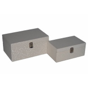 Cheungs 2 Piece Wood Boxs with Vinyl Shimmer Design Set