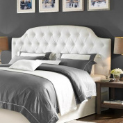 Lyric Button Tufted Faux Leather King Headboard, White