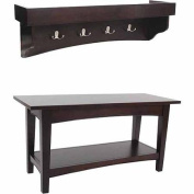 Alaterre Shaker Cottage Bench/Coat Hooks with Tray, Espresso