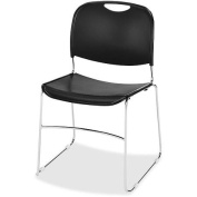Lorell Lumbar Support Stacking Chair - Polymer Black Seat - Polymer Black Back - Metal Chrome Frame - 48cm X 48cm X 80cm Overall Dimension