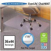 ES Robbins EverLife Chair Mats For Medium Pile Carpet, Rectangular, 90cm x 110cm , Clear