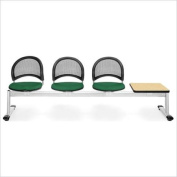 OFM Moon Beam Seating with 3 Seats and Table in Forest Green and Oak
