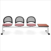OFM Moon Beam Seating with 3 Seats and Table in Coral Pink and Cherry