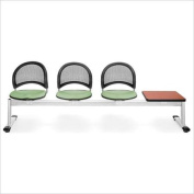 OFM Moon Beam Seating with 3 Seats and Table in Sage Green and Cherry