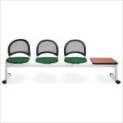 OFM Moon Beam Seating with 3 Seats and Table in Forest Green and Cherry
