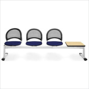 OFM Moon Beam Seating with 3 Seats and Table in Navy and Oak