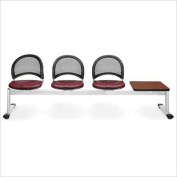 OFM Moon 4 Beam Seating with 3 Vinyl Seat and Table in Wine and Cherry