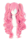 Anime Lolita Curly Multi-colour Clip on Ponytails Cosplay Costume Wig