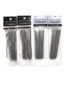 Stainless Steel 7.6cm Straight & Crinkled Hair Pins, Heavy Duty, Amish Made [2 Sets of Each]