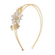 Lux Accessories Stone Floral Burst Wire Flower Headband