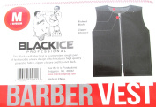 Black Ice Barber Vest Size Black Medium, Professional, barber cape, barber, salon, polyester, fabric, polyester fabric, high quality, fish net, convenient, haircut, hair cutting, hair salon, stylist, hair stylist , hair styling cape