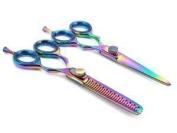 ZZZRT Professional Barber Razor Edge Titanium Coated Hair Cutting and Texturizing Shears / Scissors Set + Free Scissors Pouch