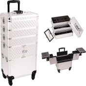 33.25 inch 360 Degree Rotating Wheels 4 in 1 Silver Diamond Pattern Professional Travel Trolley Makeup Case w/ Extendable Trays