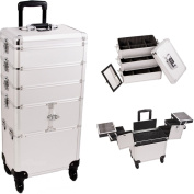33.25 inch 360 Degree Rotating Wheels 4 in 1 Silver Dot Pattern Professional Travel Trolley Makeup Case w/ Extendable Trays