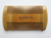Myhsmooth Gb-byg-nt Handmade Natural Green Sandalwood No Static Comb-pocket Comb (Beard) with Aromatic Scent for Long and Short Beards-perfect Moustache Comb