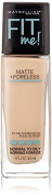 Maybelline New York Fit Me Matte Plus Poreless Foundation Makeup, Natural Ivory, 1 Fluid Ounce