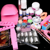 25 in 1 Combo Set Professional DIY Nail Art Decorations Kit Brush Buffer Acrylic Glitter Powder Cuticle Revitalizer Oil Pen Tool Nail Tips Rhinestones Pearls Reusable Form Glue Acrylic Set #27 with Mini Portable Fan Blower Nail Dryer