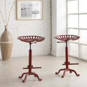 Cody Adjustable Farmhouse Tractor Seat Bar Stool - Red