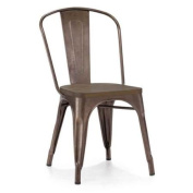 Stackable Steel Side Chair with Elm Wood Seat - Set of 4