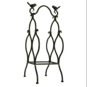 46cm Antique-Style Black Table Top Wine Rack with Perched Birds - 3 Bottle Storage