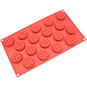 Freshware 18-Cavity Mini Round Waffle Silicone Mould for Cookie, Chocolate, Candy and Gummy, SM-137RD