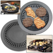 Stovetop BBQ Grill Non-Stick Pan w/ Water Ring Low Fat Steamer Grilling Skillet