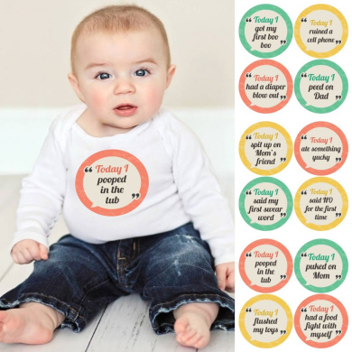 Funny First Baby's Milestone Stickers - Set of 12