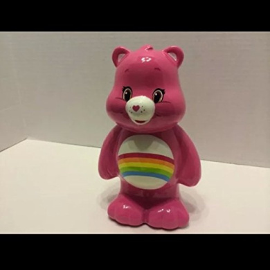 Ceramic Pink Care Bear Girls Piggy Bank, with Bottom Hole & Top Coin Slot