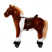 Qaba Kids Plush Ride On Walking Horse with Wheels - Brown