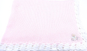Knitted Crochet Finished Pink Cotton White Trim Baby Blanket White Teddy Bear
