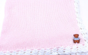 Knitted Crochet Finished Pink Cotton White Trim Baby Blanket Teddy Bear