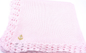 Knitted Hand Crochet Finished Pink Cotton Baby Blanket with Anchor Applique'
