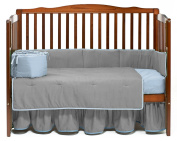 Baby Doll Solid Reversible Crib Bedding Set, Grey/Blue